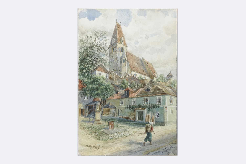Gustav Kolaritsch signiert,Blick auf die Kirche, sign. G. Kolaritsch, dat. X. 1936, Aquarell auf