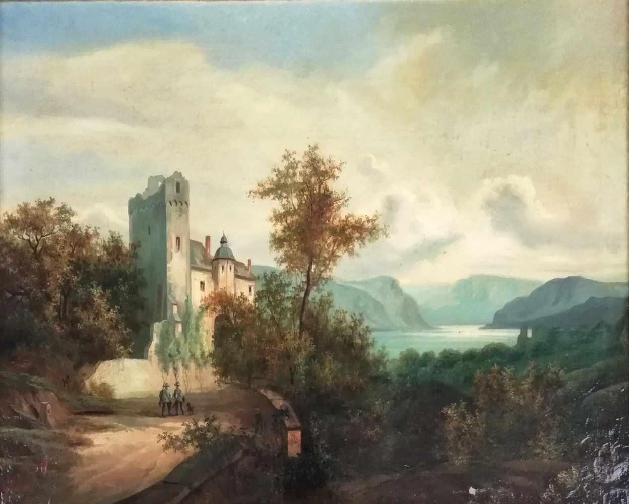 Maler des 19.Jh.Romantische Landschaft mit Burg, Öl auf Leinwand, kaschiert auf Holzplatte,