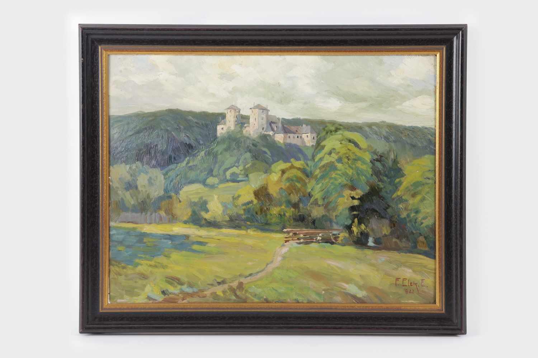Franz Ellek Eiwek (1883-1995 Eisenstadt)Burg Lockenhaus, Öl auf Karton, signiert F.Elek E.,