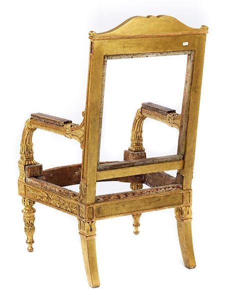 Lot 34 - Empire-Armlehnstuhl Höhe: 115 cm. Breite: 68 cm. Tiefe: ca. 68 cm. Italien, um 1840/50. Holz,
