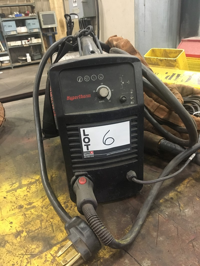 Lot 6 - Hypertherm Powermax 45 Portable Plasma Cutter, with T45V torch and cable