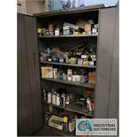 2-DOOR STORAGE CABINET WITH CONTENTS, INCLUDING HARDWARE & ELECTRICAL, WITH STEEL SHELVING & FILE