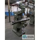"1-HP BRIDGEPORT 8-SPEED VERTICAL MILL; S/N J-74614, MINI WIZARD DRO, 48"" X 9"" TABLE, SPINDLE"