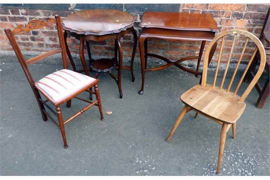 Two edwardian centre tables and two odd chairs condition report see terms and conditions for Table th odd