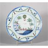 A late 18th century Lambeth delft plate with balloon ascent Vincenzo Lunardi decoration, 9 1/8""