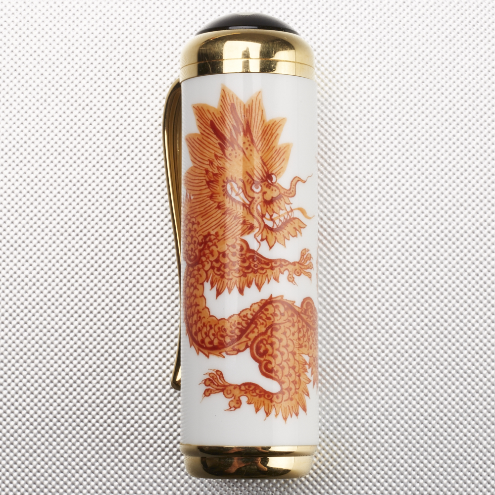 Lot 40 - Montblanc Year of the Golden Dragon Meissen Porcelain Limited Edition Fountain Pen