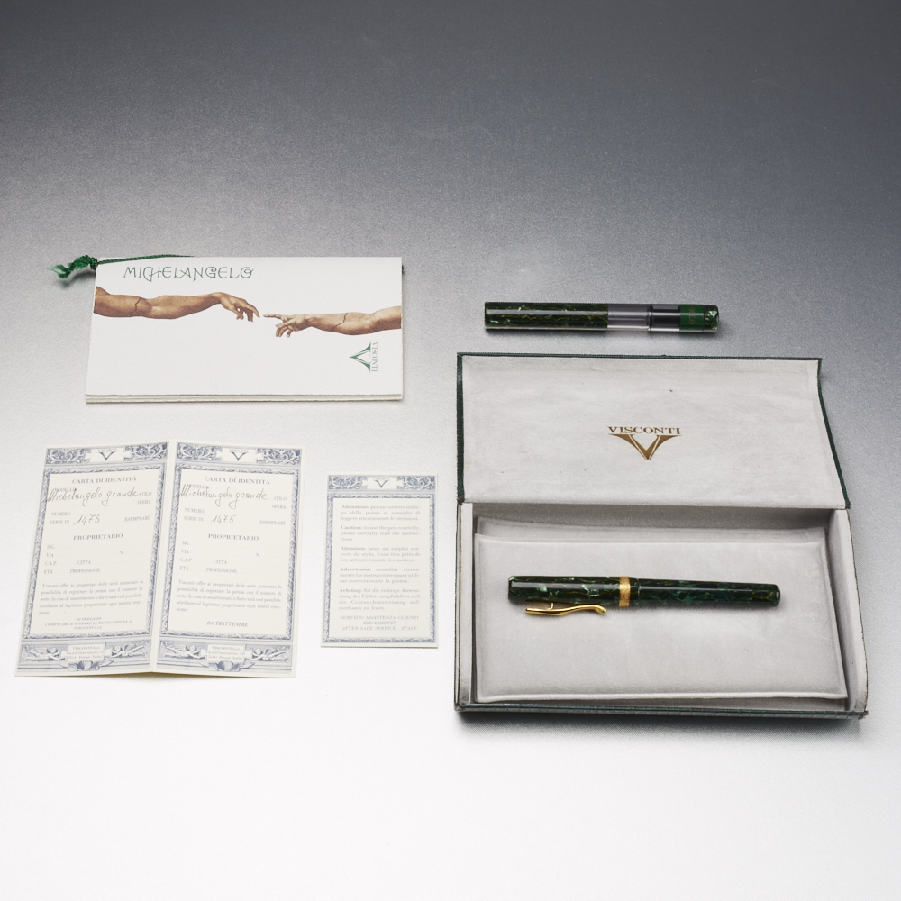Lot 19 - Visconti Michelangelo Grande Fountain Pen and Inkwell