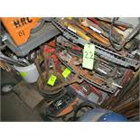 LOT ASSORTED TOOLS, HEAVY DUTY MACHINE WRENCHES, C-CLAMPS, HAMMERS, MALLETS, SCRAPERS & SAW BLADES