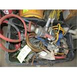 LOT ASSORTED PNEUMATIC TOOLS IN BLACK PLASTIC BIN, AIR HAMMERS, IMPACT WRENCHES, PRESSURE GAUGES,