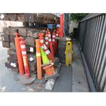LOT OF ASSORTED TRAFFIC & SAFETY CONES WITH EXTRA BLACK BASES