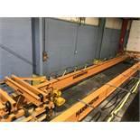 Harrington 42' Span 3 Ton Single Girder Underslung Overhead Bridge Crane with Harrington Hoist