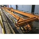 Harrington 42' Span 3 Ton Single Girder Underslung Overhead Bridge Crane