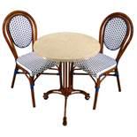 White/Blue Parisienne Side Chair. Powder coat finish imitation rattan textilene upholstery on