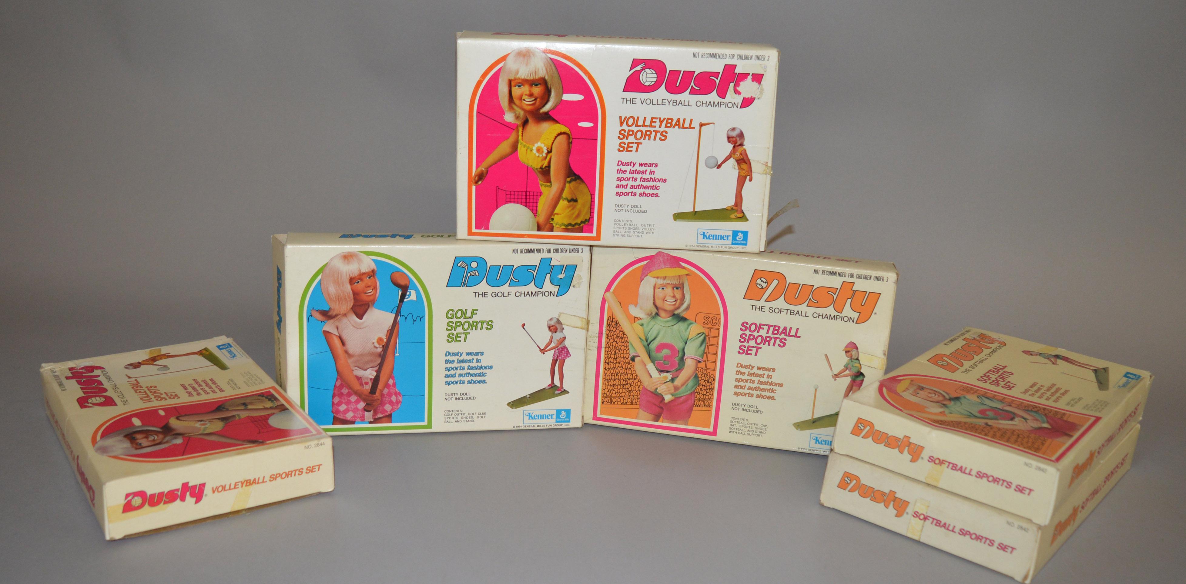 Lot 45 - EX-SHOP STOCK: Six Kenner Dusty doll Sports Set including Softball Champion,