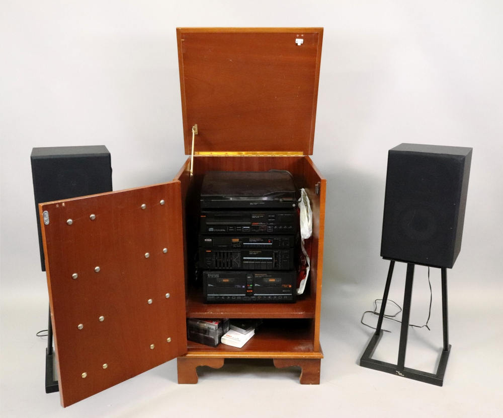 Lot 1347 - A Marantz hi-fi system in a yewwood dwarf cabinet and a pair of speakers and stands (qty).
