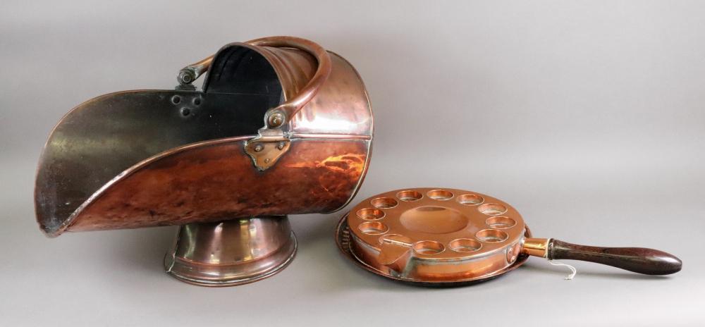 A late Victorian copper coal helmet, a c
