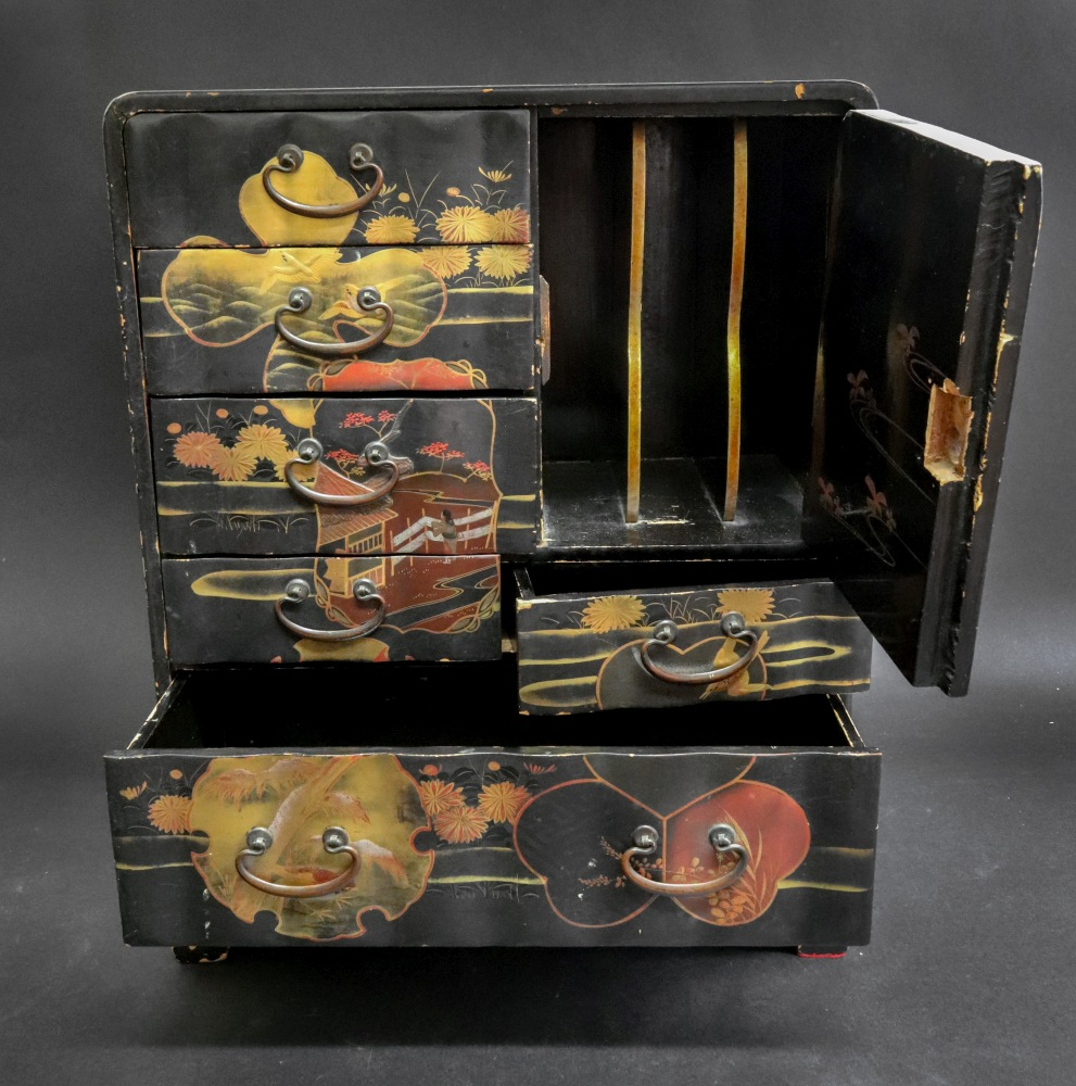 A Japanese black lacquered table top cab - Image 2 of 2