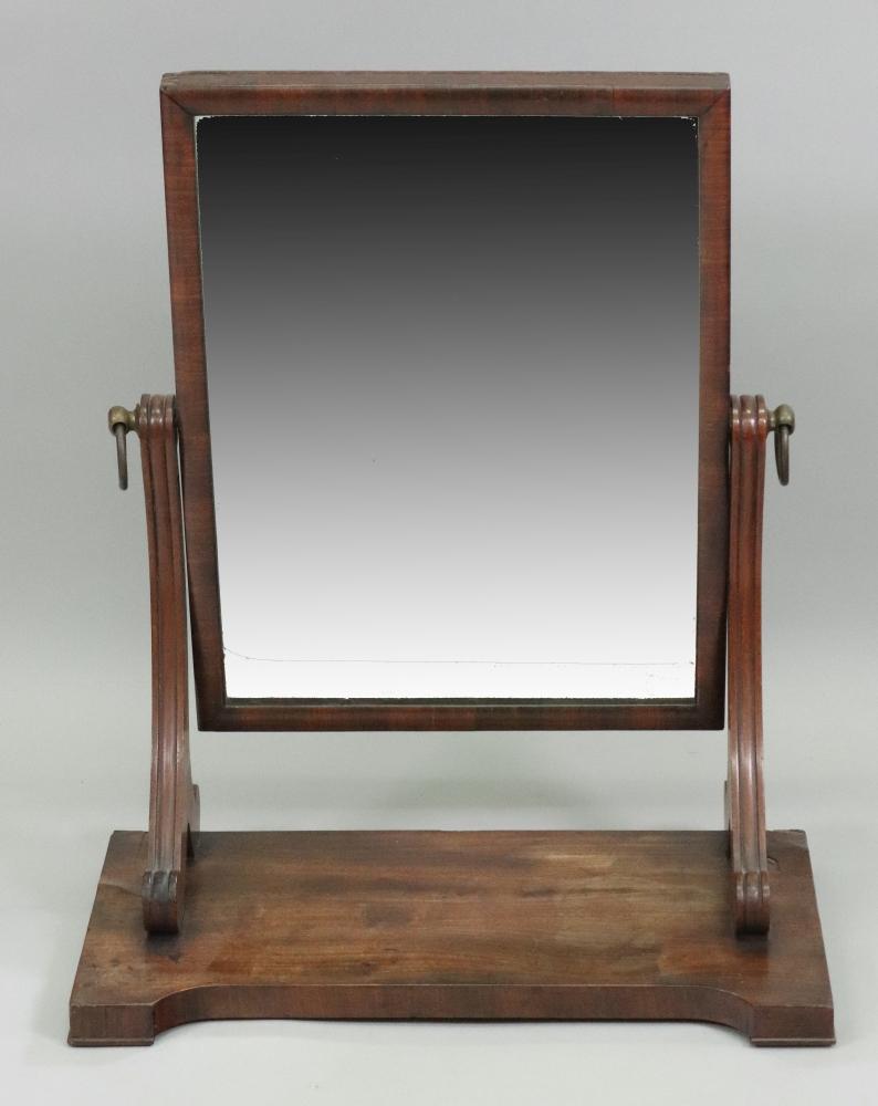 A William IV mahogany swing toilet mirro