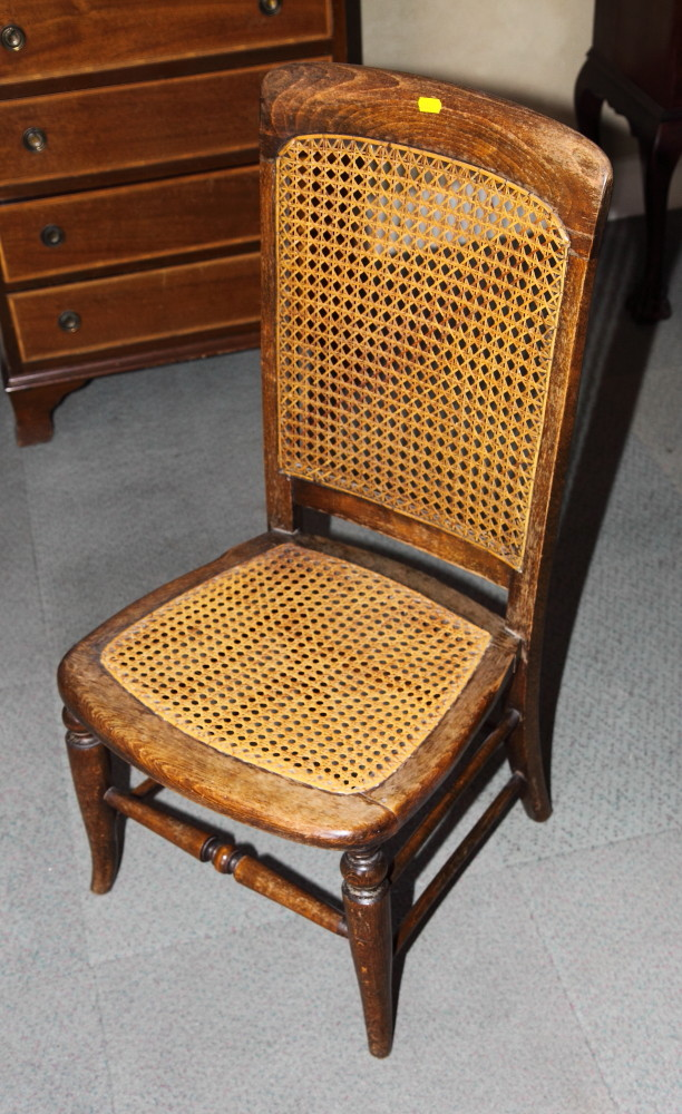 Lot 489   A Victorian Wooden Nursing Chair With Caned Seat And Back And A  Long