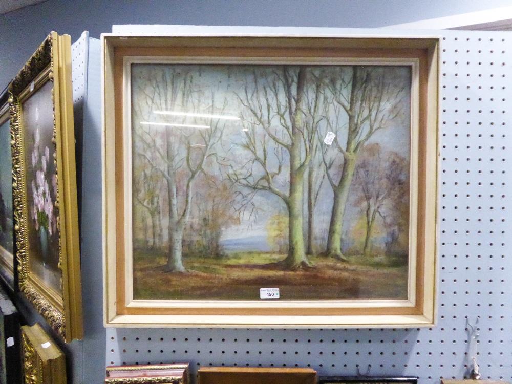 Lot 450 - W. BURLINGHAM (TWENTIETH CENTURY) PASTEL 'Winter Trees, Shropshire', Signed and dated (19) 72,