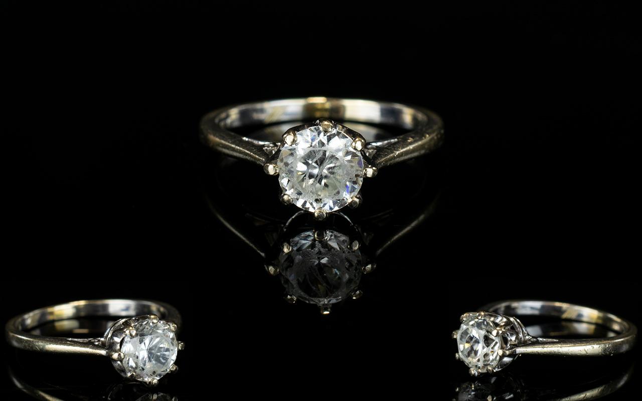 Lot 106 - 18ct Gold Single Stone Diamond Set Ring,
