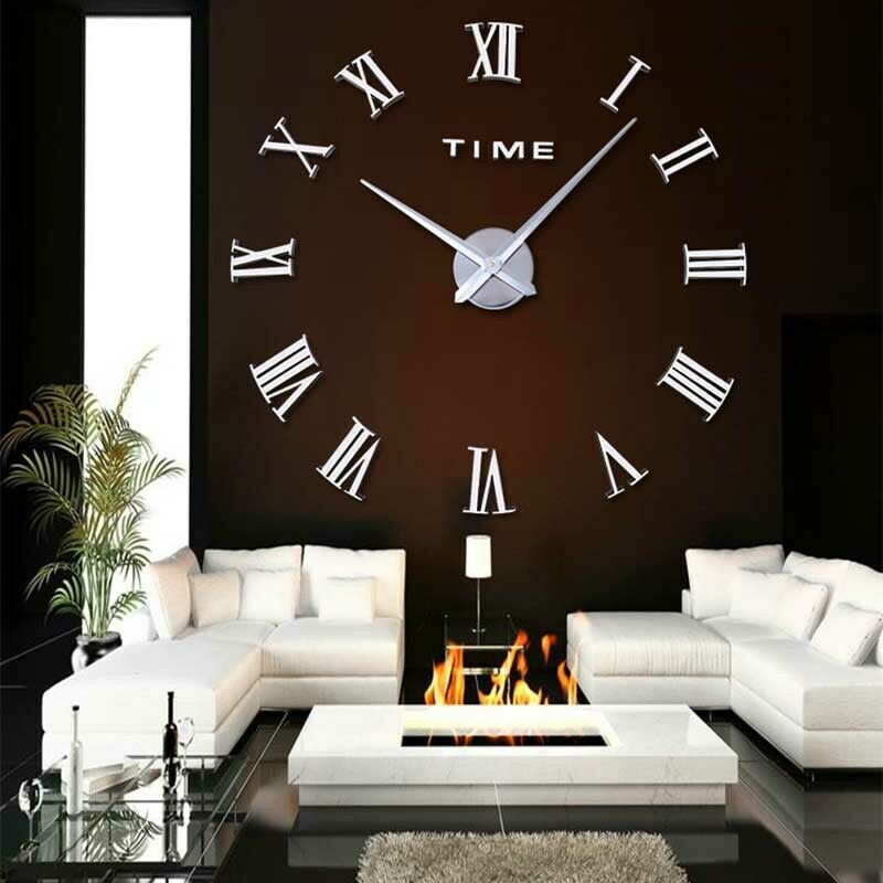 Lot 36 - 3D DIY EXTRA LARGE NUMERALS LUXURY MIRROR WALL CLOCK SILVER *PLUS VAT*
