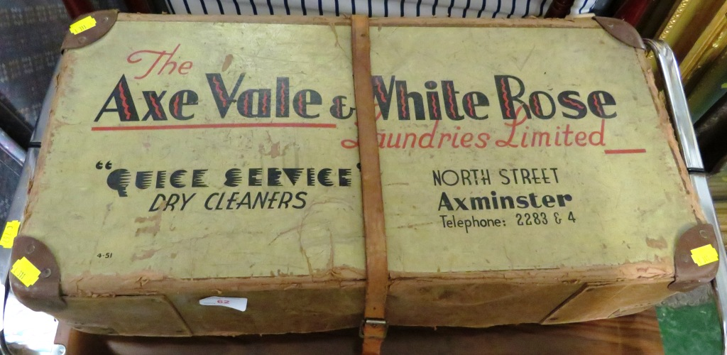 Lot 62 - VINTAGE AXE VALE & WHITE ROSE LAUNDRY BOX WITH STRAP