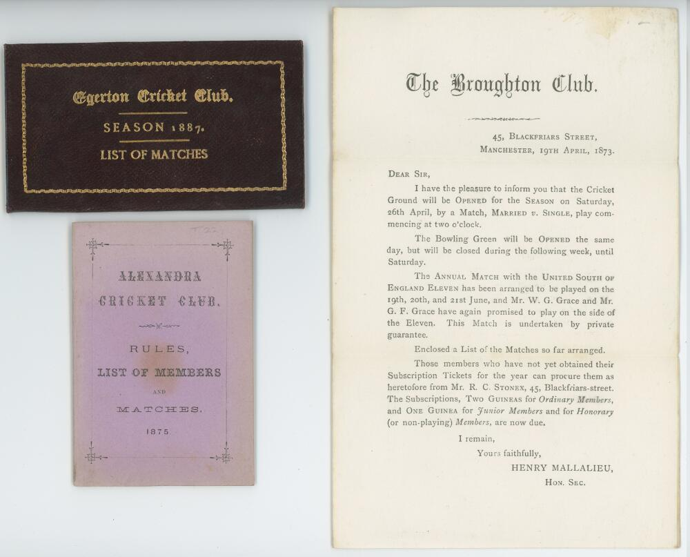 Lot 31 - Lancashire Club Cricket. 1873-1887. Three early items relating to Lancashire clubs. 'Rules, List