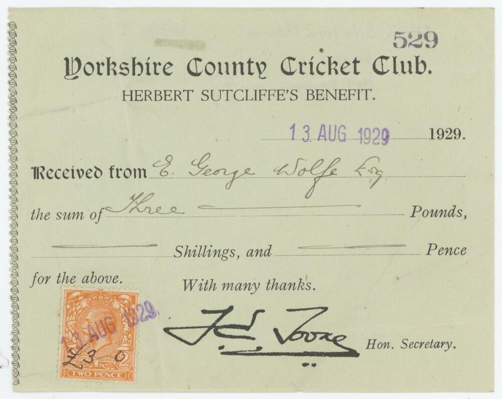 Lot 12 - 'Yorkshire County Cricket Club. Herbert Sutcliffe's Benefit'. Official receipt no. 529 issued to