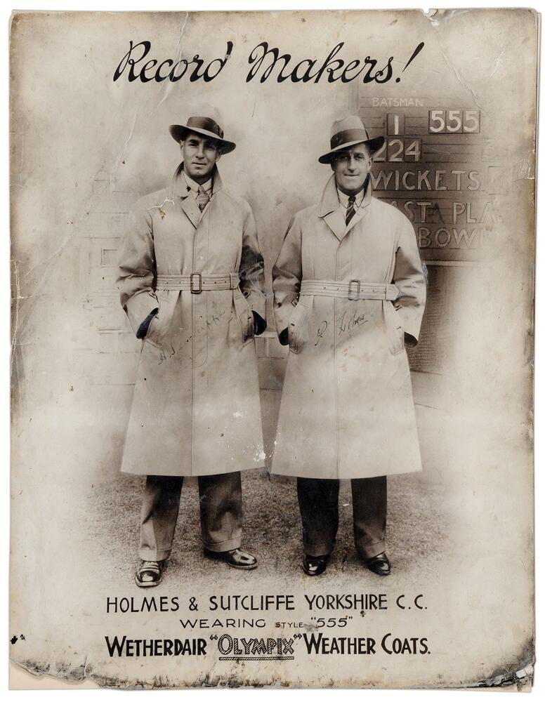 Lot 36 - Percy Holmes and Herbert Sutcliffe. Yorkshire. 'Record Makers'. Original large mono advertising card