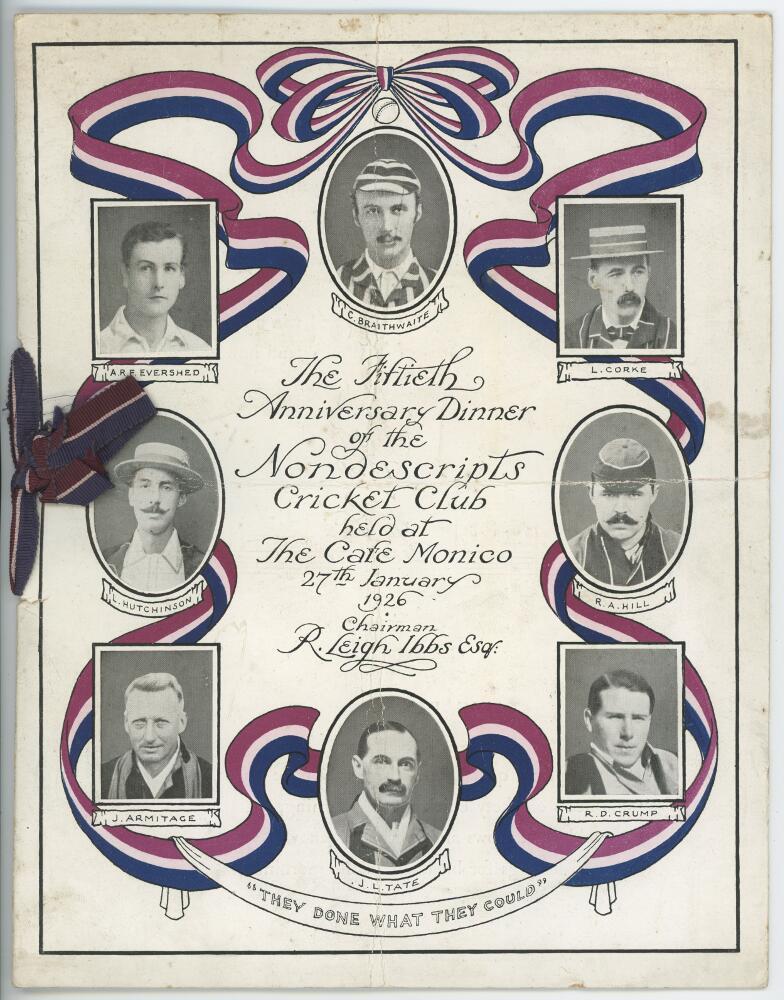 Lot 5 - Nondescripts Cricket Club. 'The Fiftieth Anniversary Dinner of the Nondescripts Cricket Club held at
