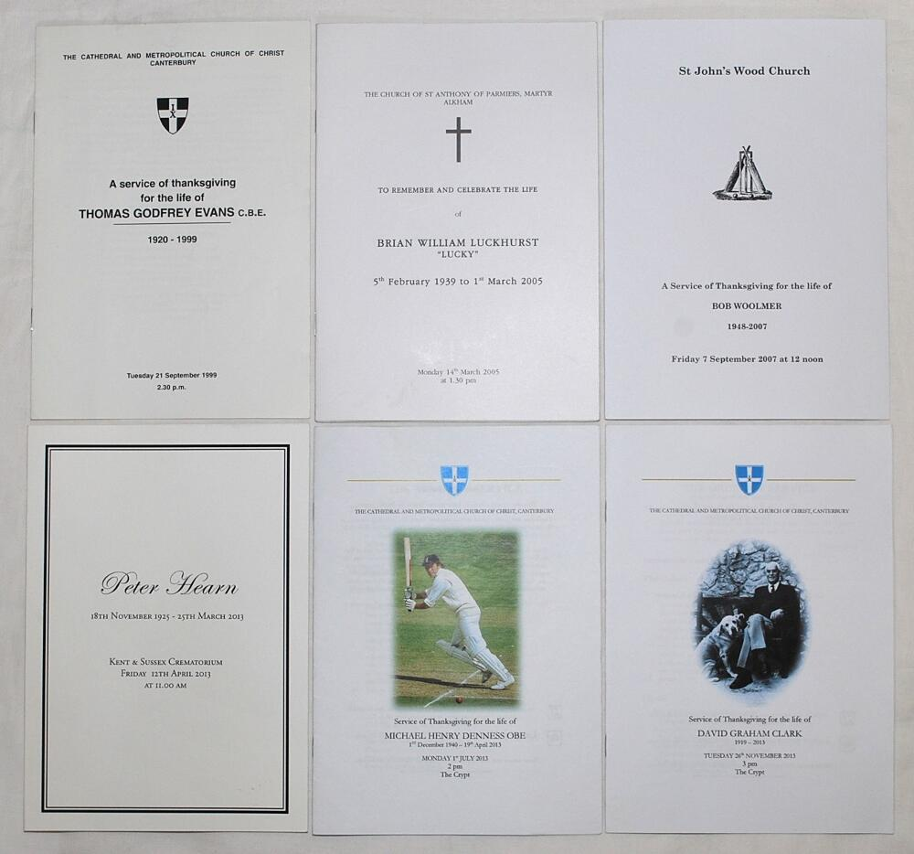 Lot 17 - Kent Cricketers' Orders of Service. Orders of service for Godfrey Evans 1999, Brian Luckhurst