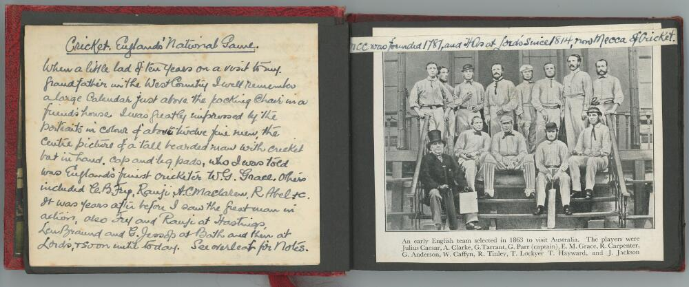 Lot 33 - 'Cricket Past and Present'. Cricket in England 1860s-1950s. A nicely compiled small red photograph