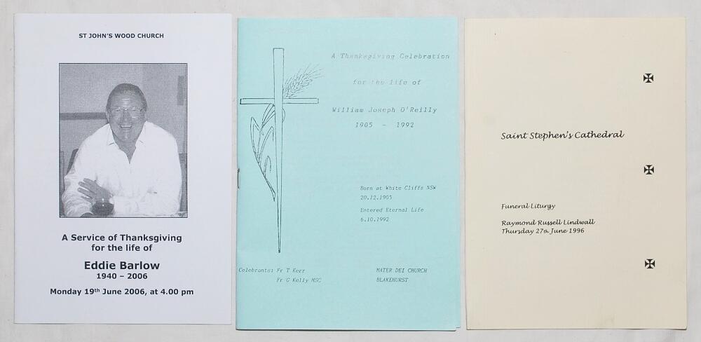 Lot 20 - Cricketers' Orders of Service. Edgar John 'Eddie' Barlow 1940-2006, Raymond Russell Lindwall 1921-