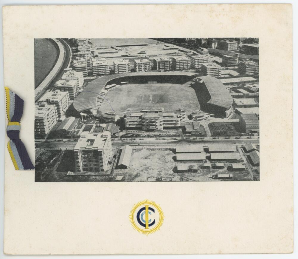 Lot 46 - 'Cricket Club of India' Christmas card, with image of the ground and ribbon tie in Indian colours,