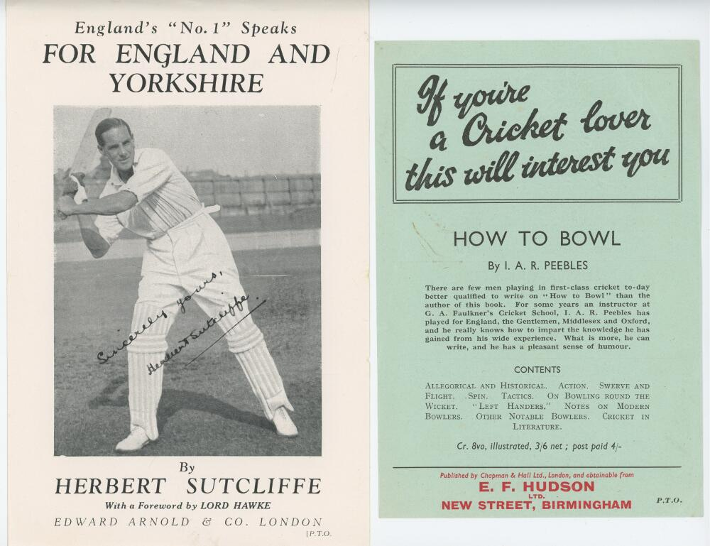 Lot 25 - Cricket in advertising and publicity 1930s onwards. White file comprising an eclectic collection