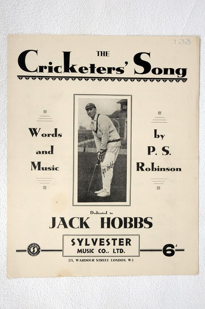 Lot 43a - 'The Cricketers' Song'. Words and Music by Percy S. Robinson. Dedicated to Jack Hobbs. Published