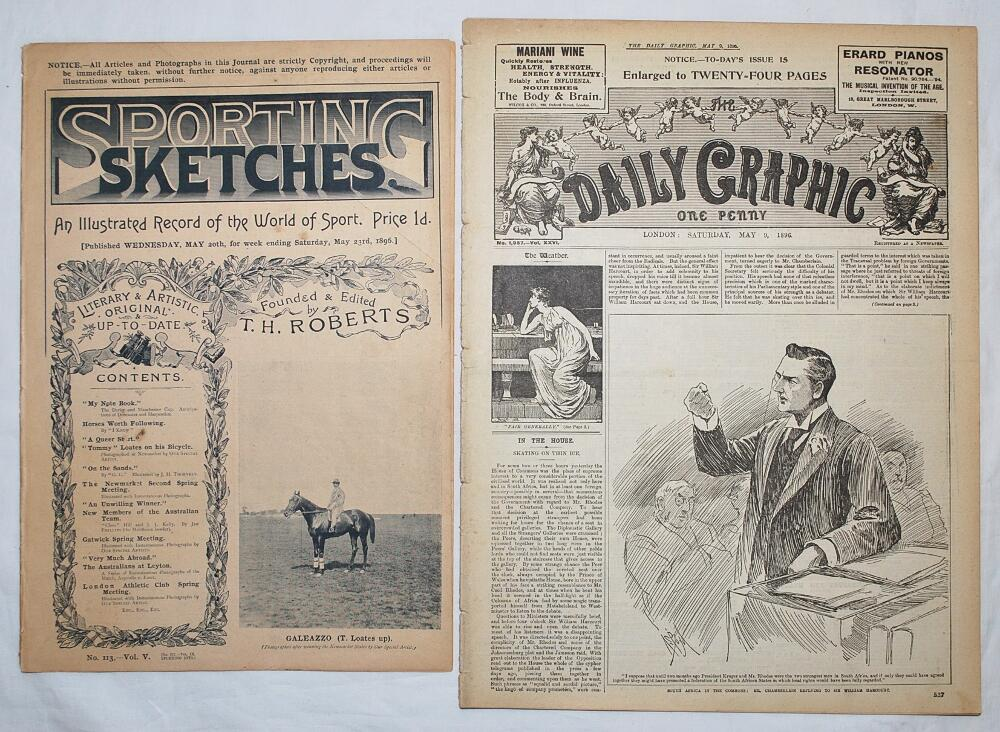 Lot 29 - 'Sporting Sketches'. Copy of the magazine for 20th May 1896, Vol. V, number 113. Includes two full
