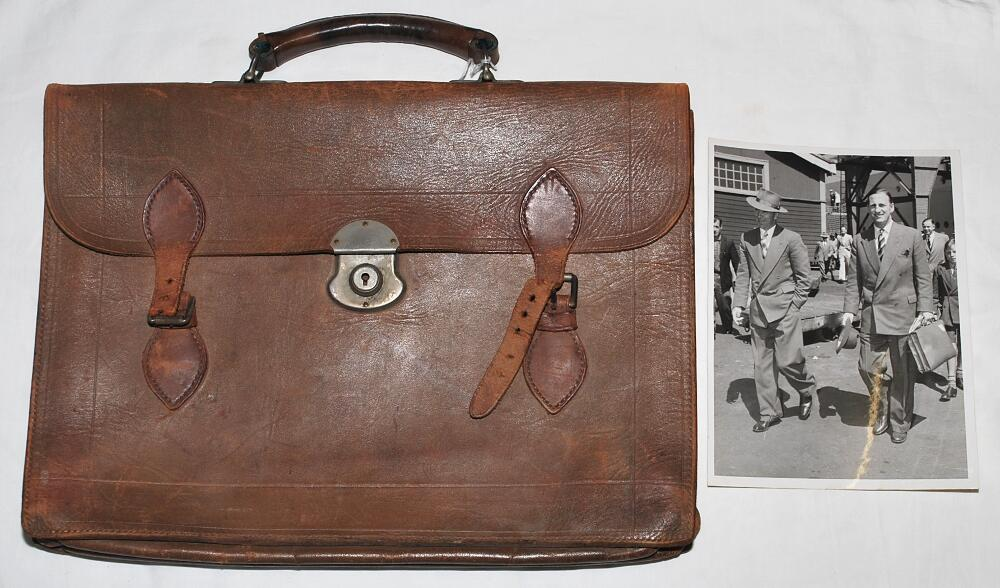 Lot 42 - Leonard Hutton, Yorkshire & England 1934-1955. Brown leather briefcase used by Hutton during his