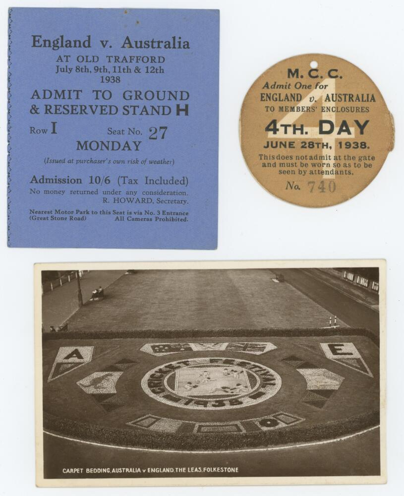Lot 2 - Australia tours to England 1938. Two official tickets, one to the members' enclosure for the