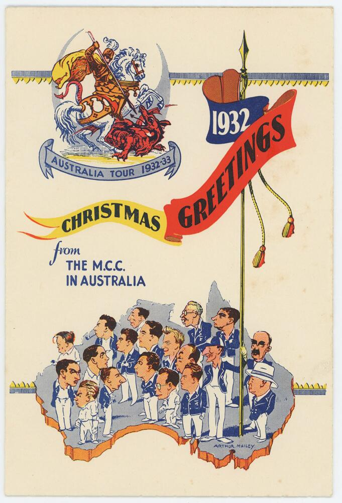 Lot 44 - 'Bodyline'. Official M.C.C. Christmas card from the M.C.C. 'Bodyline' tour of Australia 1932/33.