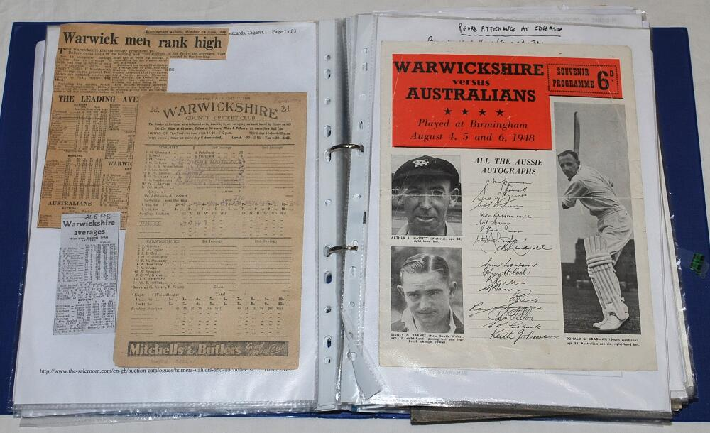 Lot 35 - Warwickshire C.C.C. 1902-2018. Blue folder comprising a collection of press cuttings, copy and