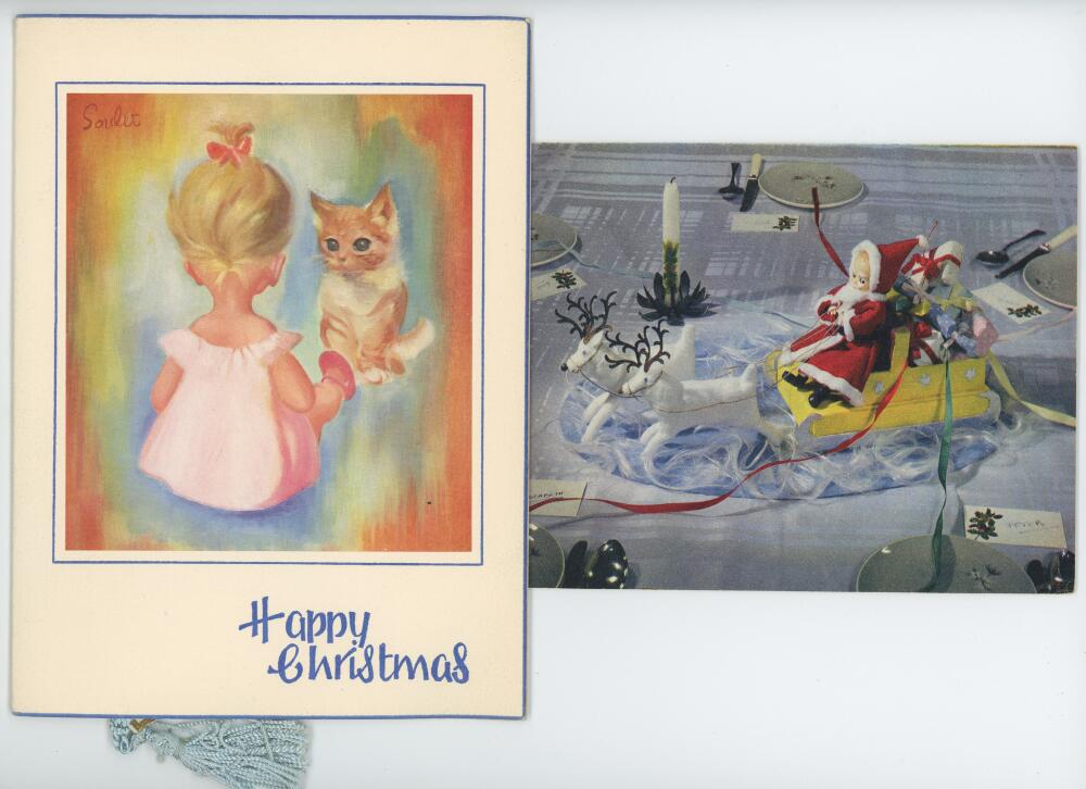 Lot 8 - Jack Hobbs. Two original Christmas cards with printed greetings from 'Sir Jack and Lady Hobbs'.