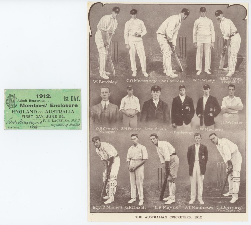 Lot 1 - The Triangular Series. England v Australia 1912. Rare original official match ticket for admission