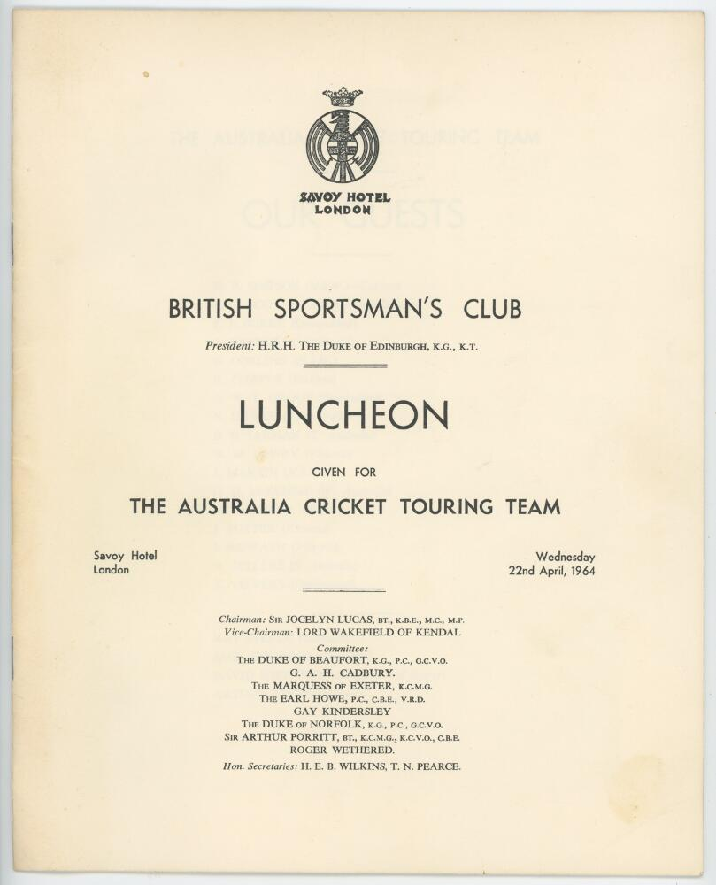 Lot 9 - Australia Tour to England 1964. Official twelve page list of attendees and table plan for the