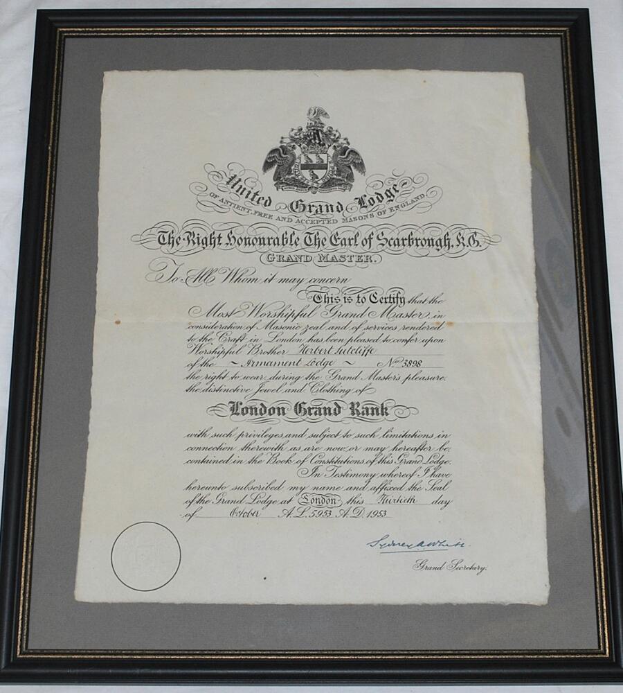 Lot 43b - Herbert Sutcliffe. Yorkshire & England 1919-1945. Original certificate issued to Sutcliffe