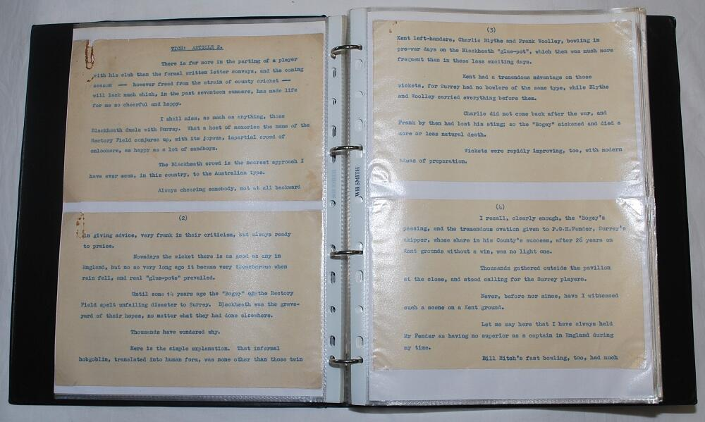Lot 27 - Alfred Percy 'Tich' Freeman. Kent & England 1914-1936. A collection of typed manuscripts with odd