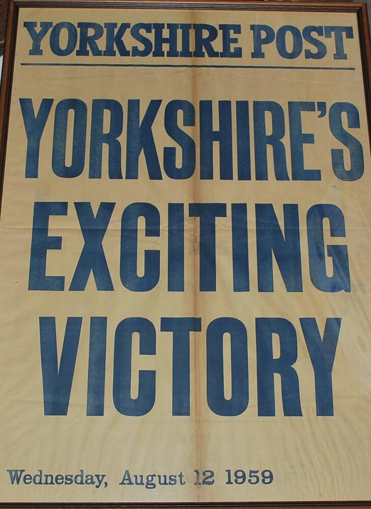 Lot 34 - Yorkshire C.C.C. 1959. Original newspaper poster for the Yorkshire Post announcing 'Yorkshire's