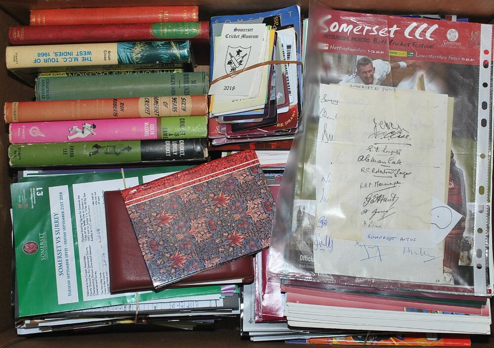 Lot 39 - Box comprising a selection of cricket biographies, album pages, official match programmes,