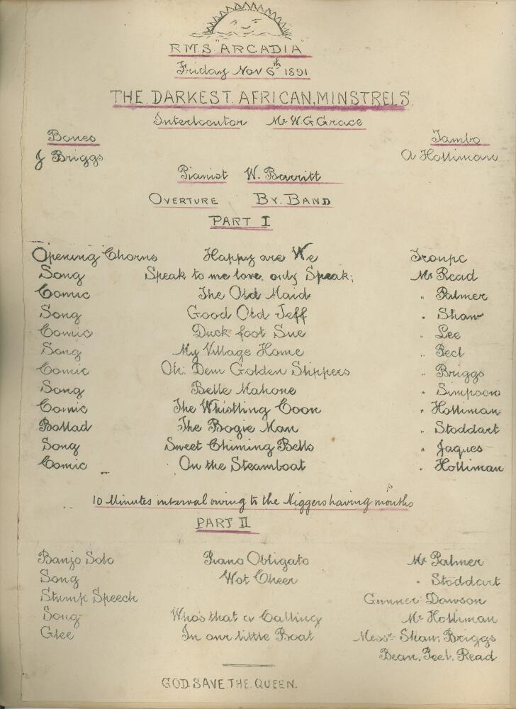Lot 4 - Lord Sheffield's English Teams tour of Australia 1891/92. Printed musical programme from the R.M.